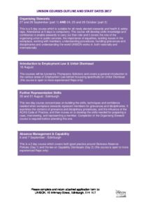 Latest UNISON Course Dates