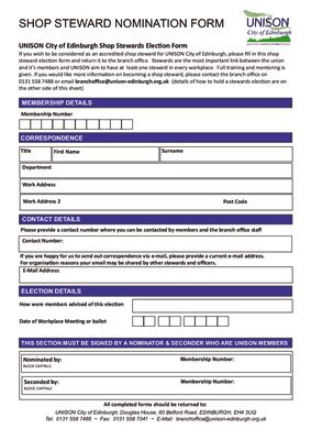 thumbnail of Shop Steward Nomination Form 2021 working from home