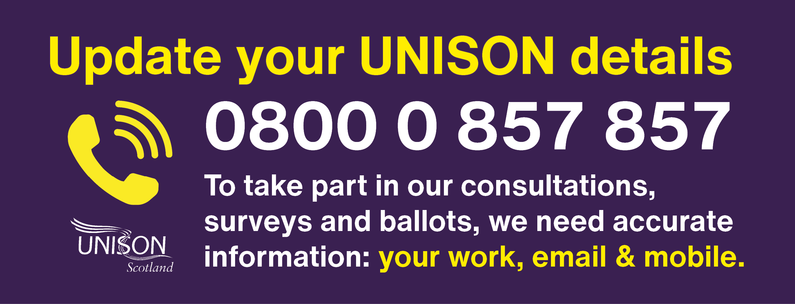 Update your details UNISON direct slider